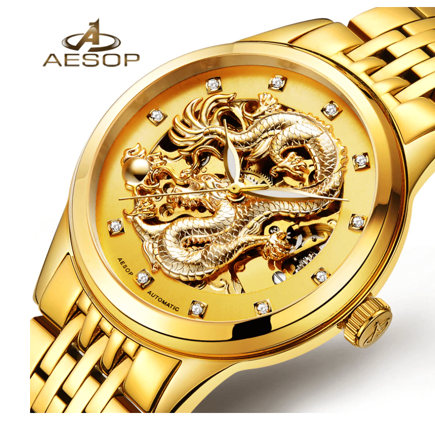gold plated stainless steel automatic watch