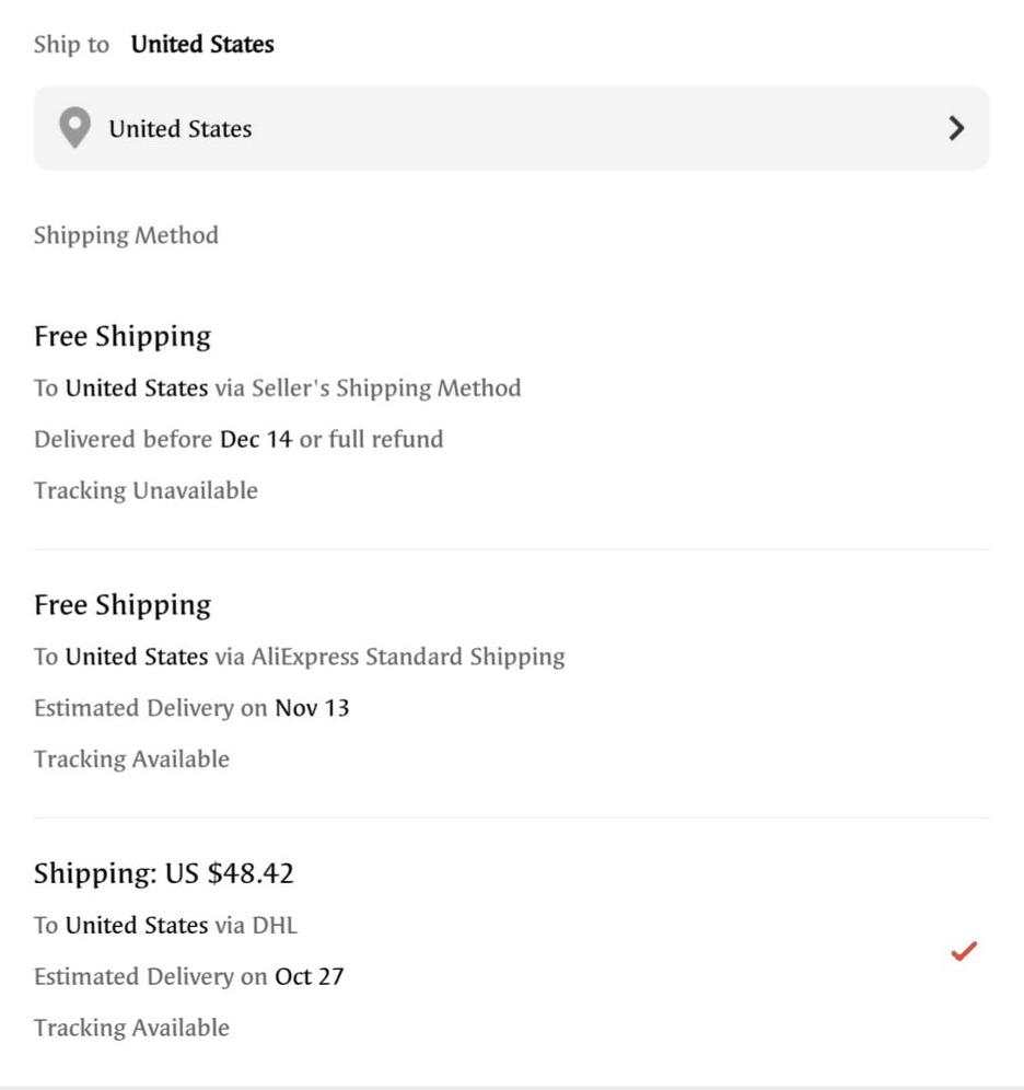 shipping cost aliexpress banggood